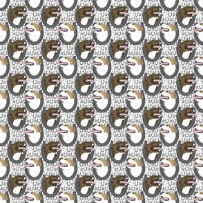 American Pit Bull Terrier horseshoe portraits B - small