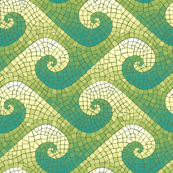 wave mosaic - teal, green, yellow, white