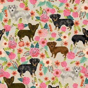 chiweenie florals fabric dog dogs fabric