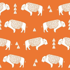 buffalo fabric // nursery baby cabin outdoors fabric print andrea lauren design - orange