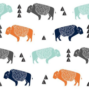 buffalo fabric // nursery baby cabin outdoors fabric print andrea lauren design - navy orange