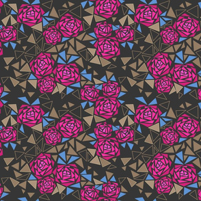 Mosaic pink flowers on dark