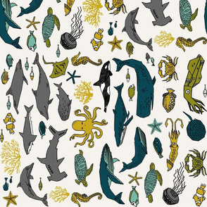 ocean animals fabric // railroad boys nursery fabric ocean under the sea nursery