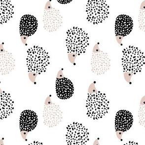 Scandinavian sweet hedgehog illustration for kids gender neutral black and white rotated