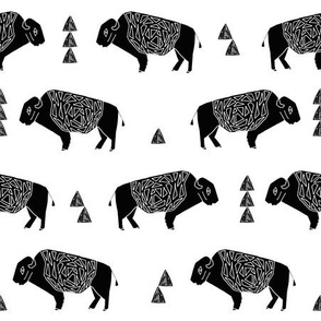 buffalo fabric // black and white nursery fabric baby americana design