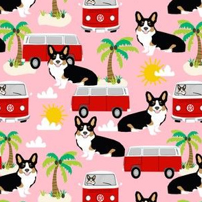Corgi Tricolored beach dog breed fabric pink