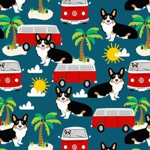 Corgi Tricolored beach dog breed fabric sapphire