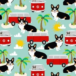 Corgi Tricolored beach dog breed fabric