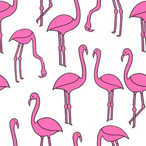 flamingo fabric // birds tropical summer pink and white andrea lauren fabric