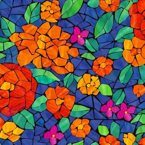 Floral Glass Tile Mosaic