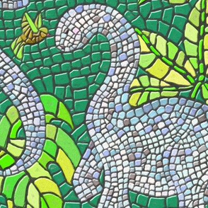 Dinosaur and Hummingbird Mosaic Lime Green