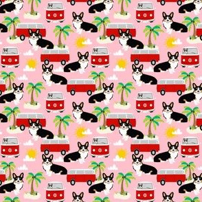 corgi tricolored hippie bus beach summer fabric cute dog fabric