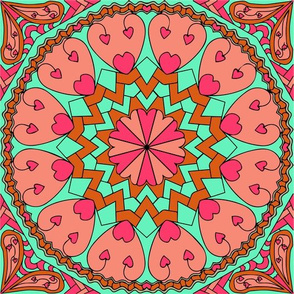 Coral Turquoise Heart Mandala Black Outlines