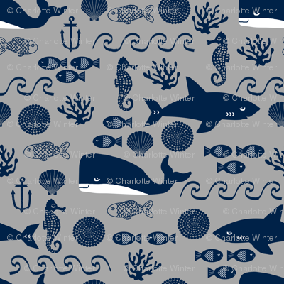 Navy and grey ocean animals fabric nursery nautical design for Nautical nursery fabric