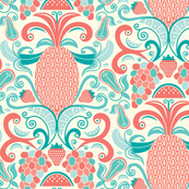 Ambrosia - Fruit Damask Pineapple Coral Aqua Cream