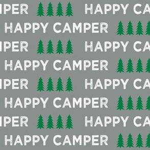happy camper || dark grey and green