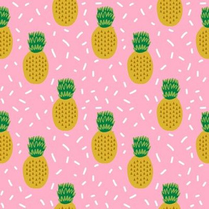 pineapple fabric pink pineapples tropical summer fruit fabric