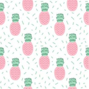 pineapple fabric pastel pink tropical summer fruit fabric