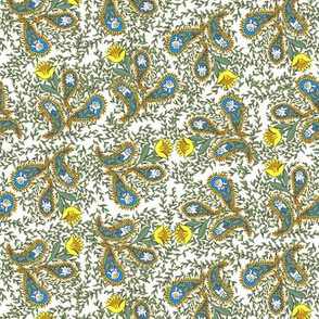 Allover Floral Paisley Yellow on White