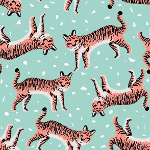 tigers fabric // tiger animal safari fabric andrea lauren - blue