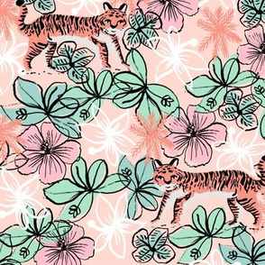 tropical tigers fabric // hibiscus palms palm plants summer print by andrea lauren - blush and pink