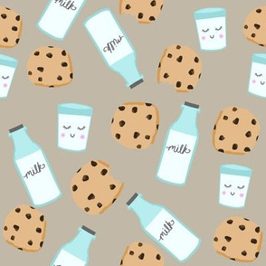 milk and cookies baby fabric cute food nursery design taupe