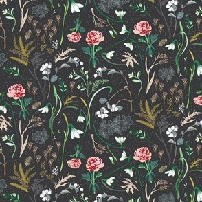 Enchanted Floral (charcoal) SMALL