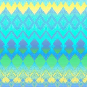 Cyan, Green and Yellow Ombre Ikat and Chevron Stripes