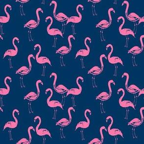 flamingo fabric navy and pink flamingos