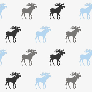 Big Moose - baby blue and grey on silver