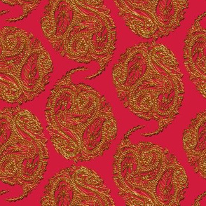 Mock Gilt Isolated Triple Paisley on Red