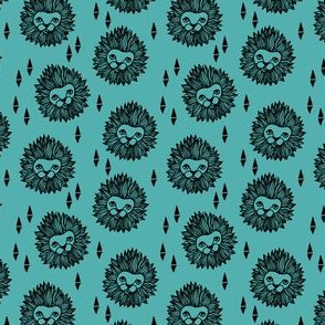 lion fabric // turquoise lion head design small scale andrea lauren fabric