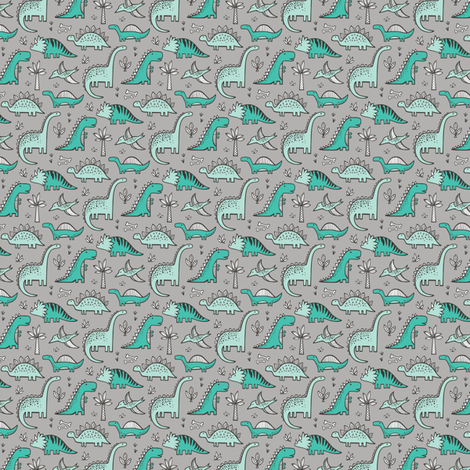 Dinosaurs on grey tiny small wallpaper caja design for Grey dinosaur fabric
