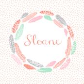 girls feather wreath - custom name fabric