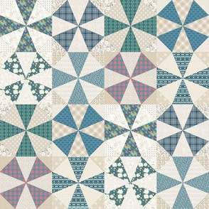 Kaleidoscope Cheater in Blues and Beige