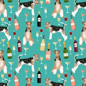 Wire Fox Terriers dog breed fabric wine