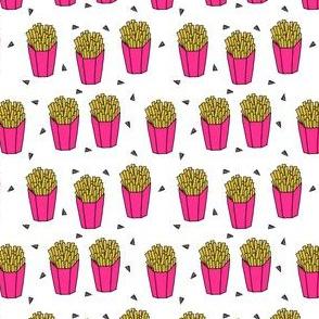 french fries fabric // pink fries cute junk food print by andrea lauren