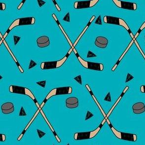 hockey fabric //  hockey sports fabrics hockey sport ice hockey kids fabric  - teal