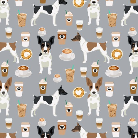 Rat Terrier Dog Fabric Coffee Pattern 2 Fabric