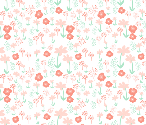 Floral fabric coral and mint baby nursery design sweet for Floral nursery fabric