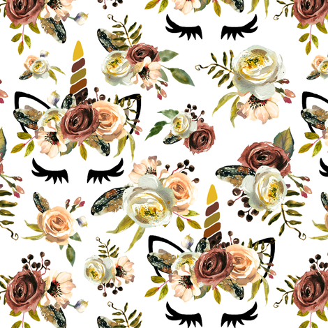 "3.5"" autumn_unicorns_white fabric amelierainfall"