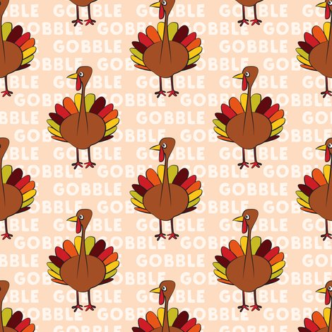 gobble gobble thanksgiving turkey blush fabric