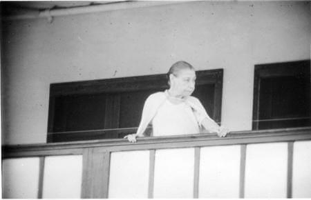 The Mother of Sri Aurobindo Ashram giving Balcony Darshan