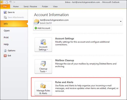 Using Mailbox Rules In Microsoft Outlook 2010