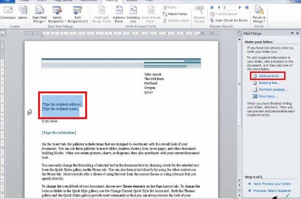 Using The Mail Merge Wizard In Word 2010