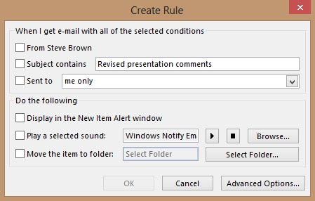 Create Rule Dialog Box Outlook 2013
