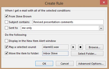 Create Rule Dialog - MS Outlook 2013