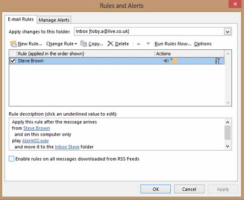 Rules and Alerts Dialog - MS Outlook 2013