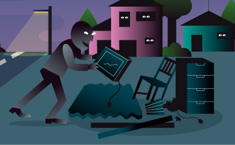 Illustration of person partaking in illegal dumping