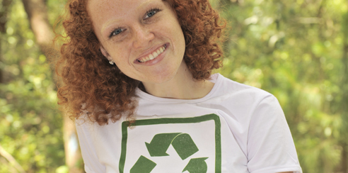 Girl who is interested in recycling